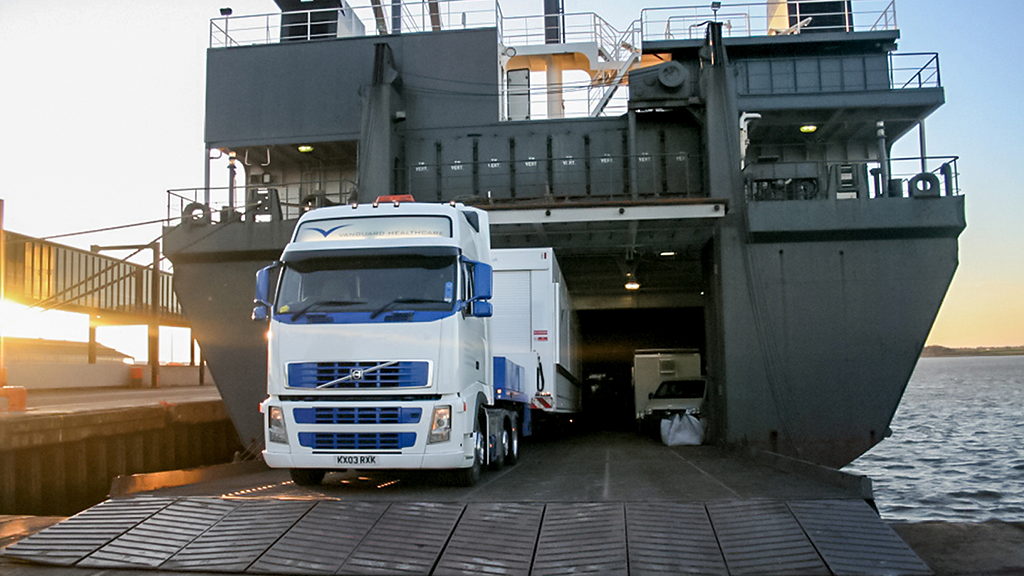 Mobile healthcare vehicle disembarks ship